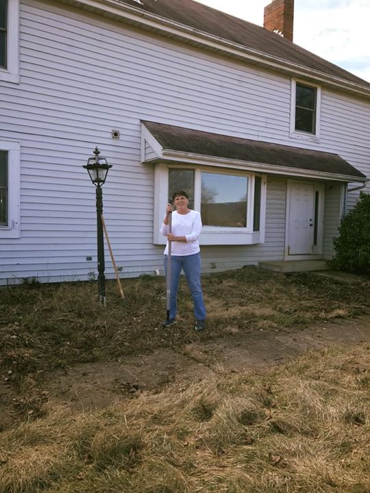 ACRES of work done today!!  Linda cleaned up front yard!
