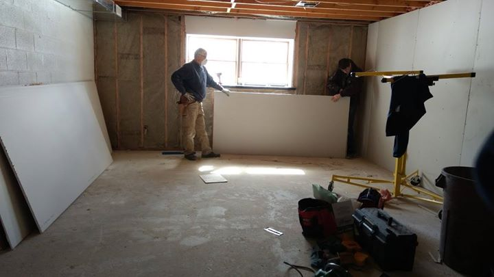 More drywall went up in the basement this weekend. Soon, this room will contain a special virtual reality system to provide vocational training in a s