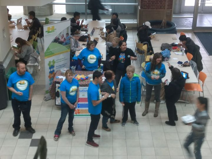 We're kicking off Autism Awareness Month in the HUB this afternoon! Student volunteers and day program participants are here handing out buttons, brac