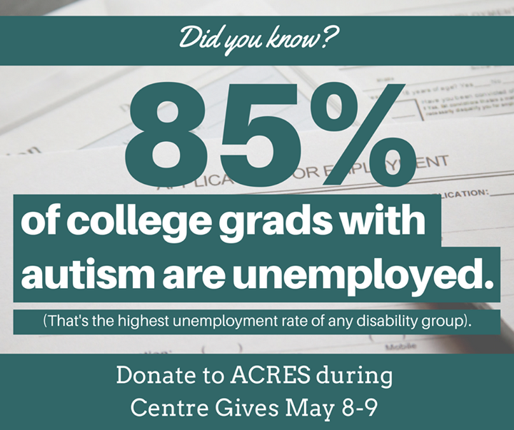 In 4 days, you can make a difference. Donate to the ACRES Project during Centre Gives and help provide adults with autism with employment opportunitie