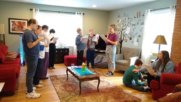 Our ACRES Exceptional Theatre group is hard at work rehearsing their play for our upcoming Dinner Theatre Fundraiser at Calvary Church Harvest Fields!