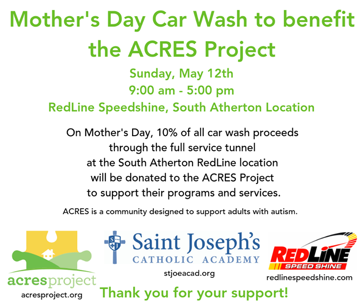 CAR WASH EVENT!!!!! BENEFITING Acres Project THIS SUNDAY May 12th. THANK YOU so much Aidan Cross, RedLine Speed Shine Car Wash and Saint Joseph's Cath