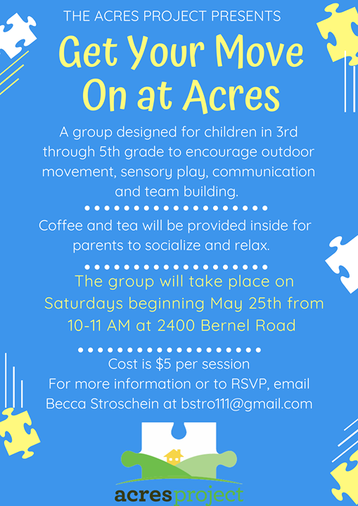 Don't forget! Our first 'Get Your Move On at ACRES' session is this Saturday 10:00 - 11:00 AM. This is for ALL kids in 3rd - 5th grade. Secure your sp