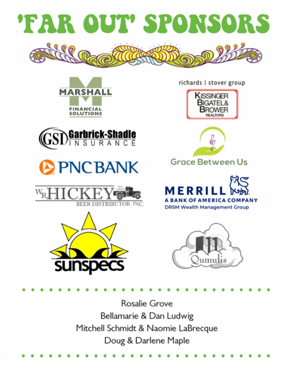 """Thank you to our """"Far Out"""" sponsors of our ACRES of Music: The Music of Woodstock benefit show this coming Saturday at The State Theatre!"""