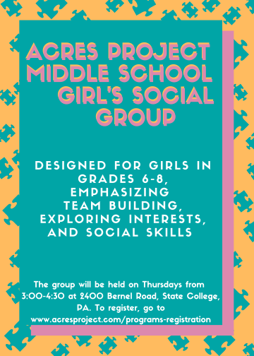 Now introducing our Middle School Girls Group! This group is for girls grade 6-8 on the autism spectrum. Here, they will practice socialization in a s