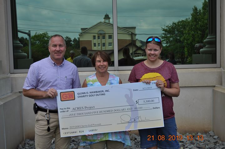 The ACRES Project received a check for $5,500 from Glenn O. Hawbaker, Inc. as one of the beneficiaries of their annual Charity Golf Outing! The funds