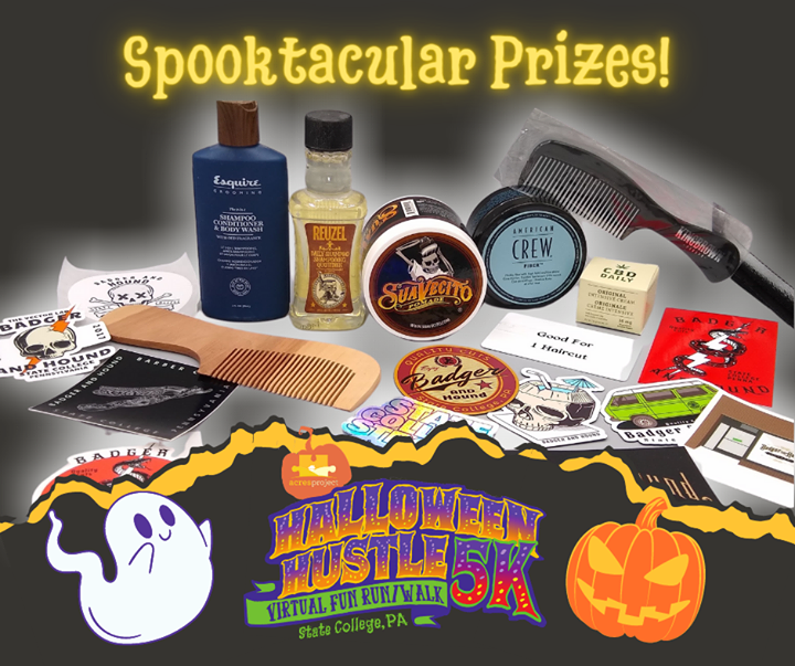 "Huge thanks to Badger and Hound Barber Company for donating some truly ""spooktacular"" prizes for our Halloween Hustle Virtual 5K! The event lasts all"