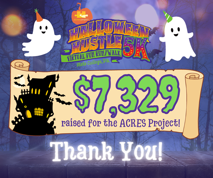 Thank you to everyone who supported the ACRES Halloween Hustle Virtual 5K! Our 99 participants, six sponsors, and countless donors helped raise $7,329